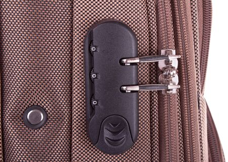 A closeup shot of the combination lock built in suitcase Stok Fotoğraf