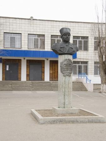 volgograd: Monument to Fyodor Ivanovich Tolbuhin at the main entrance to the Lyceum 1 (22 school) Krasnoarmeisky district, Volgograd