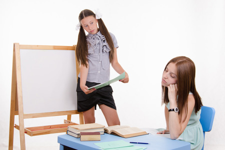 reluctance: The teacher went to sleep as the student answered at the blackboard