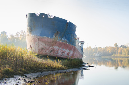 dismantling: Abandoned ship on the Bay in anticipation of dismantling