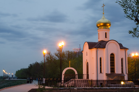 Evening view of a small church, located at gateway of first Volga-Don Canal, Volgograd