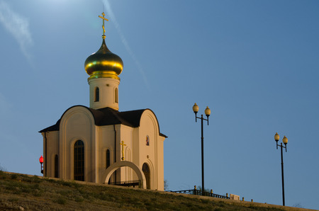 navigable: Evening view of a small church, located at the gateway of the first Volga-Don Canal, Volgograd Stock Photo