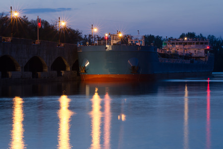 Evening view of the pier of the first lock of the Volga-Don Canal named after Lenin, Volgograd Banco de Imagens