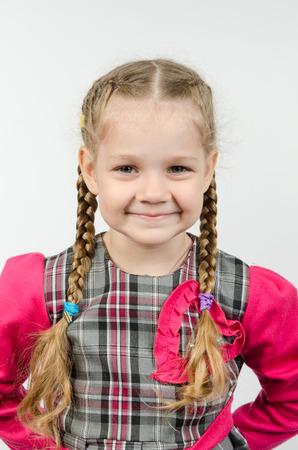 europeans: Halflength portrait cheerful fun girl four Europeans Stock Photo