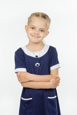 europeans: Half-length portrait cheerful fun six-year girl Europeans Stock Photo