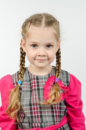europeans: Half-length portrait cheerful fun girl four Europeans