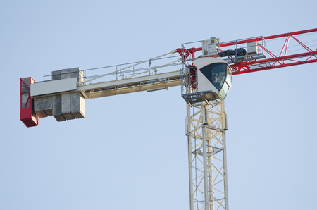 counterweight: The counterweight and the drivers cab of the tower crane close-up