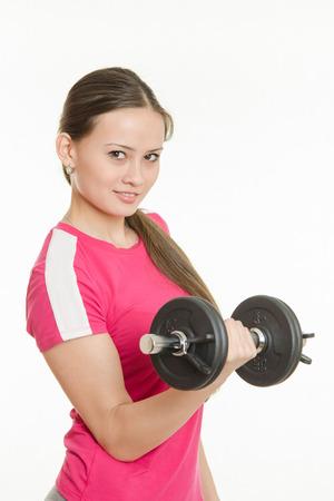 fucking: Young beautiful girl athlete Europeans conducting physical training
