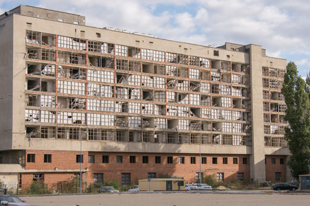ravaged: Volgograd, Russia - October 10, 2015: abandoned and destroyed office building located on the street Marshal Chuikov 65, former hotel - Youth Center