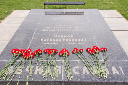 marshal: Volgograd, Russia - 5 November 2015: The grave and tombstone memorial plate twice Hero of the Soviet Union Marshal Vasily Chuikov, an area of grief historical memorial complex - To Heroes of the Battle of Stalingrad, Volgograd Editorial
