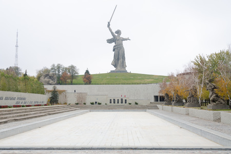 visitors area: Volgograd, Russia - 5 November 2015: Autumn view of the square of heroes and the sculpture Motherland Calls! historical-memorial complex To Heroes of the Battle of Stalingrad, Volgograd