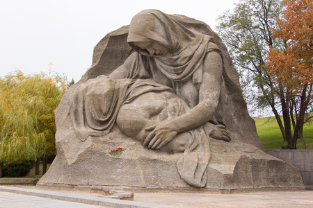 volgograd: Volgograd, Russia - 5 November 2015: Sculpture grief mother close-up on the area of grief historical memorial complex To Heroes of the Battle of Stalingrad, Volgograd Editorial