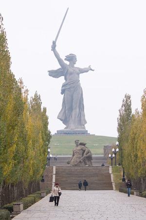 volgograd: Volgograd, Russia - 5 November 2015: View from the main avenue of poplars monument Motherland calls historical-memorial complex To Heroes of the Battle of Stalingrad, Volgograd