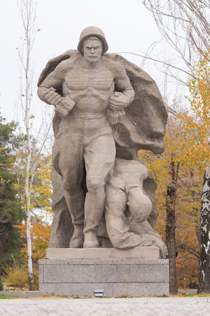 heroism: Volgograd, Russia - November 5, 2015: The sculptural group The heroism of the Marines in the square of heroes historical memorial complex To Heroes of the Battle of Stalingrad, Mamayev Kurgan, Volgograd