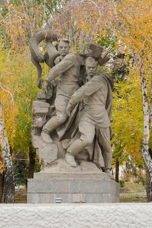 allegory: Volgograd, Russia - 5 November 2015: Sculpture allegory The defenders of Stalingrad destroy not yet defeated, but received a mortal wound fascism in the square of heroes historical memorial complex To Heroes of the Battle of Stalingrad, Mamayev Kurgan Editorial