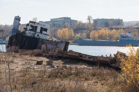 tanker ship: Removing the transport tanker ship on the river bank