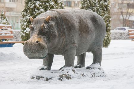 sculptor: Volgograd, Russia - January 22, 2016: The sculpture Hippopotamus sculptor Zurab Tsariteli at the entertainment center Gippopo in Krasnoarmeysk district of Volgograd