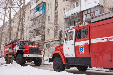 Two fire service cars are in a block of flats Redakční
