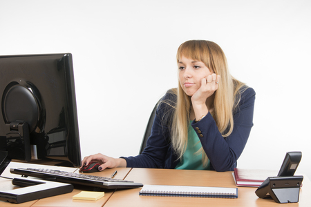 scolded: Upset a specialist office working on the computer Stock Photo