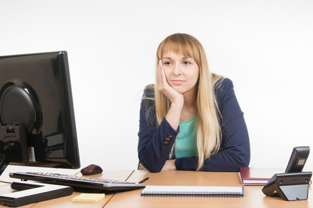 scolded: Office misses a specialist in the workplace Stock Photo