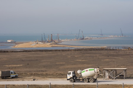 tuzla: Taman, Russia - March 8, 2016: A view of the Tuzla Spit and the construction of transport passage through the Kerch Strait from the Taman, which will connect the Kerch and Taman peninsula, as of March 2016