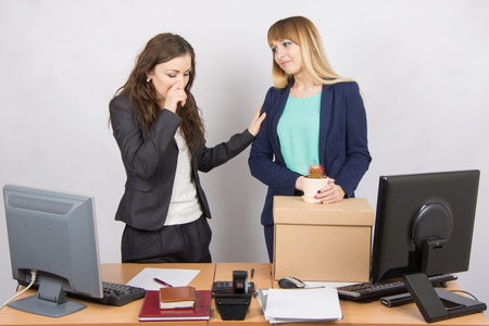 deceptive: Office worker with tears accompanies the dismissed colleague Stock Photo