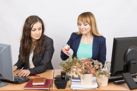 controversy: Office employee hostile looks at the Colegio, obsessed houseplants Stock Photo