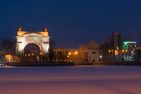 Volgograd, Russia - February 20, 2016: Night view of the front arch of the gateway 1 WEC ship canal Lenin Volga-Don, in Krasnoarmeysk district of Volgograd