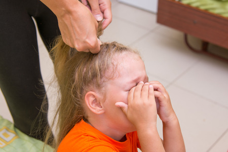 torment: The little girl was crying when she braided long hair