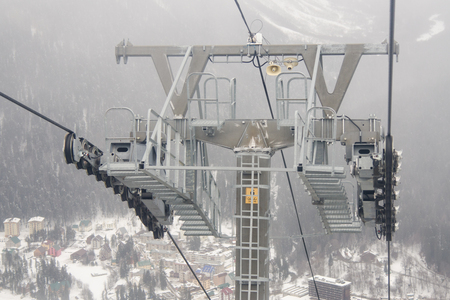 monorail: Dombay, Russia - 7 February 2015: support a monorail ropeway at ski resort Dombay
