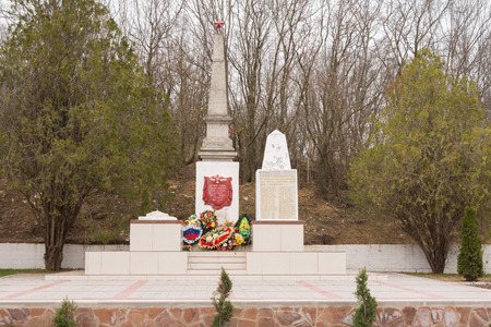 fraternal: Sukko, Russia - March 15, 2016: A view of the common grave of Soviet soldiers and civilians in the village of Sukko, who died fighting Nazi invaders and state in the 1942-1943 year