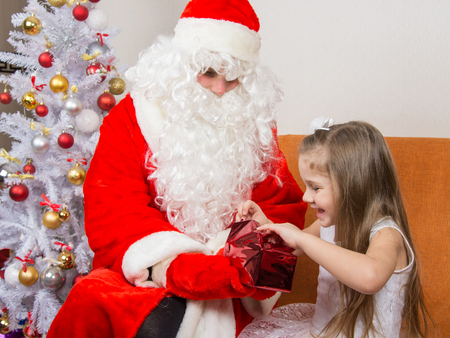 'grandfather frost': Little girl joyfully opens a gift that keeps grandfather frost Stock Photo