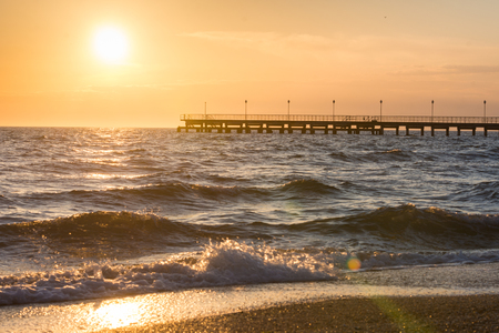 navy pier: Navy Pier at sunset