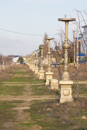 insufficient: Abandoned building on the avenue of the world street in the resort village of Vityazevo, a suburb of Anapa