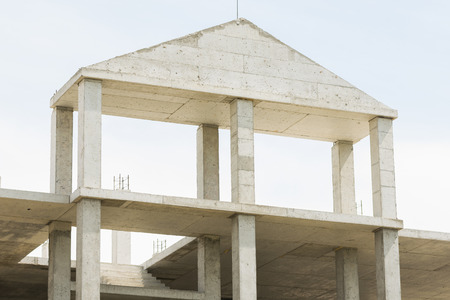 monolithic: Unfinished house with a monolithic concrete constructions Stock Photo