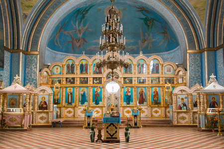 dubovyj ovrag, Russia - February 20, 2016: Interior inside the church of the Holy Martyr Nikita, located in the village of dubovyj ovrag in the Volgograd region Editorial