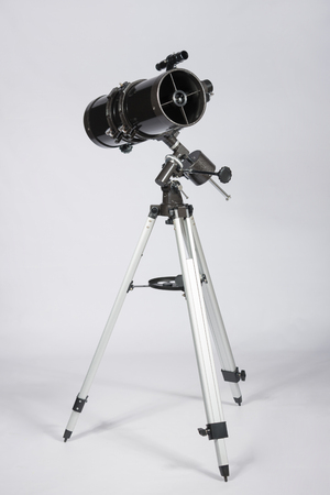 ufology: reflector telescope on a white background