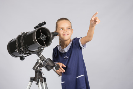 ufology: The young astronomer pointing at the starry sky