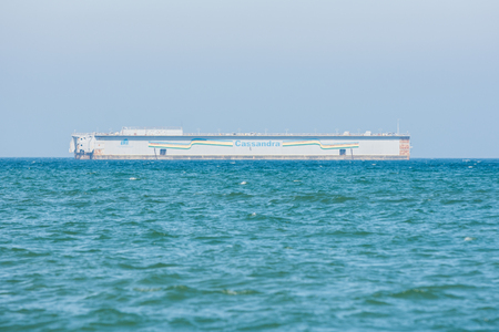 taman: Taman, Russia - March 8, 2016: floating dock Cassandra in the Sea of Azov in Taman