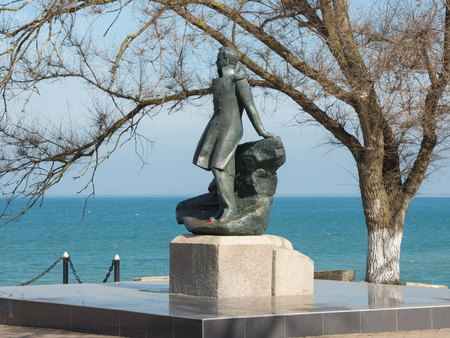 mikhail: Taman, Russia - March 8, 2016: Mikhail Lermontov Monument in Taman, located on the shore of the Azov Sea Editorial