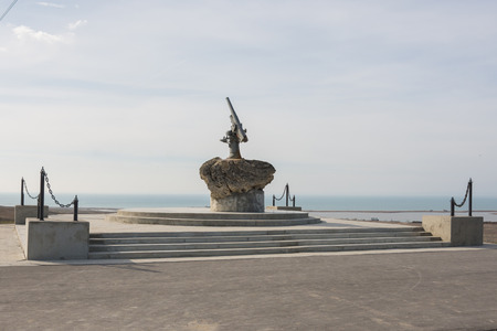 german fascist: Taman, Russia - March 8, 2016: Monument to Soviet paratroopers - Lender gun with armored BKA 73 Azov flotilla Black Sea Fleet, who died 11.02.1943 in Kerch-Eltigen Operation Editorial