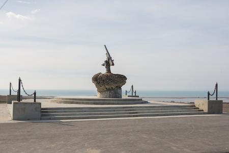 lender: Taman, Russia - March 8, 2016: Monument to Soviet paratroopers - Lender gun with armored BKA 73 Azov flotilla Black Sea Fleet, who died 11.02.1943 in Kerch-Eltigen Operation Editorial