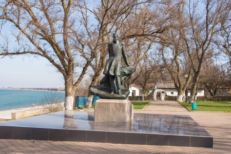 taman: Taman, Russia - March 8, 2016: Mikhail Lermontov Monument in Taman, located on the shore of the Azov Sea in the house-museum in honor of the visit of Lermontov in Taman