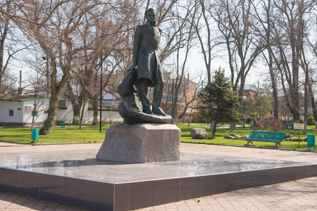 mikhail: Taman, Russia - March 8, 2016: Monument to Mikhail Lermontov in the city center of Taman Editorial