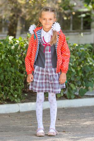 Portrait of a seven-year high school girls at school