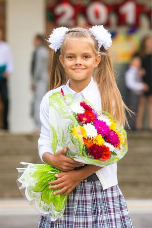 grader: Portrait first grader girls at school Stock Photo