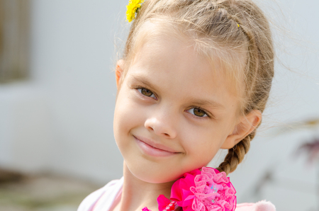 Close-up portrait of a beautiful six year old girl Stock Photo