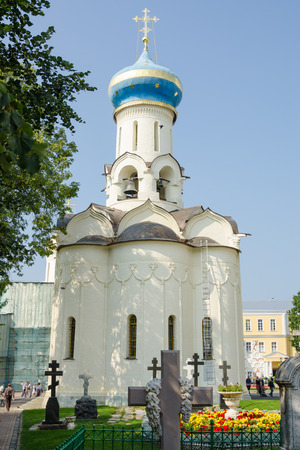 Sergiev Posad - August 10, 2015: View of the front of the grave Spirit temple of the Holy Trinity St. Sergius Lavra Editorial