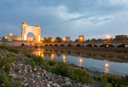 volgograd: Volgograd, Russia - August 1, 2016: The first gateway Volgodonsk navigable channel, view of the sunset, Volgograd Editorial
