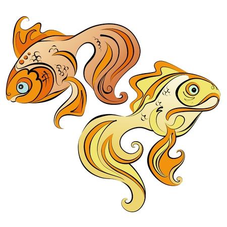 Illustration of two stylized gold fish on white background